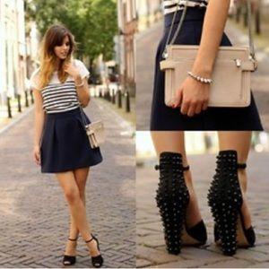 Zara Basic Spiky Heels Peep Toe Suede Black Spike